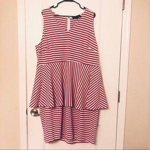 Eloquii Striped Dress w/ Peplum Detail
